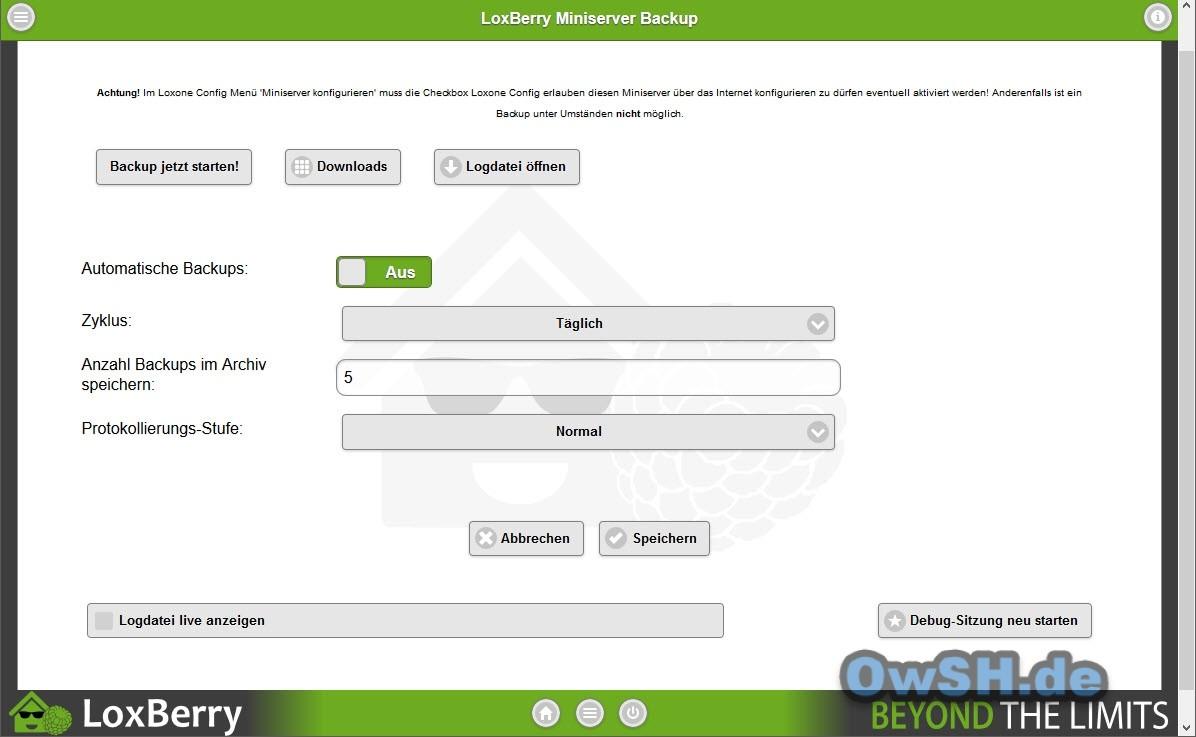 loxberry miniserverbackup einstellungen - Automatisches Backup des Loxone Miniservers