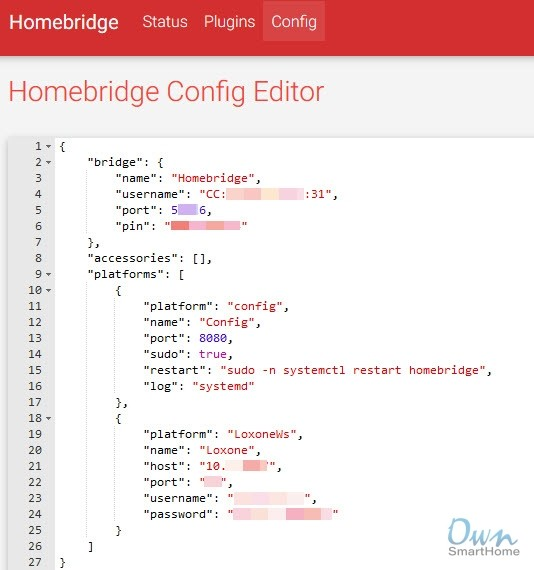 Homebridge Config Loxone Plugin