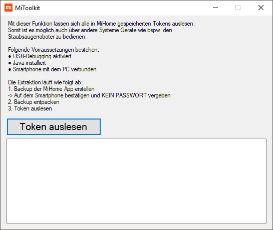 mi toolkit token auslesen