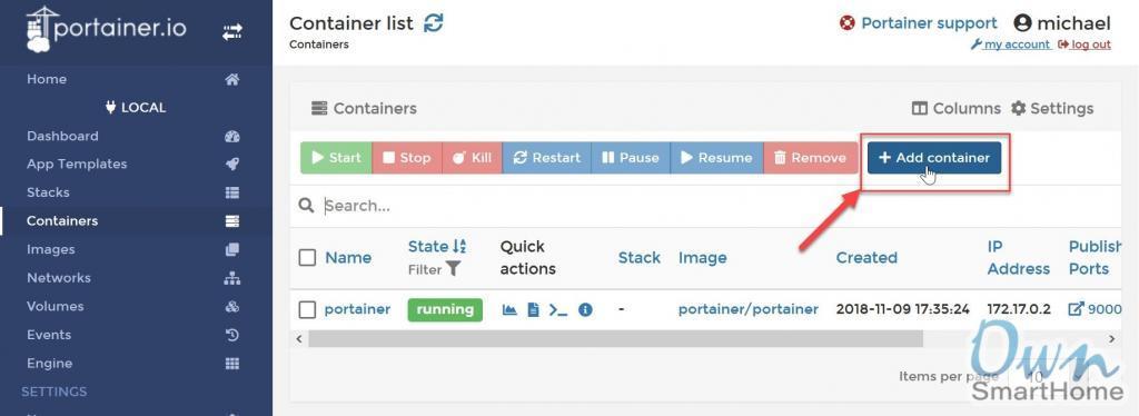 docker container list