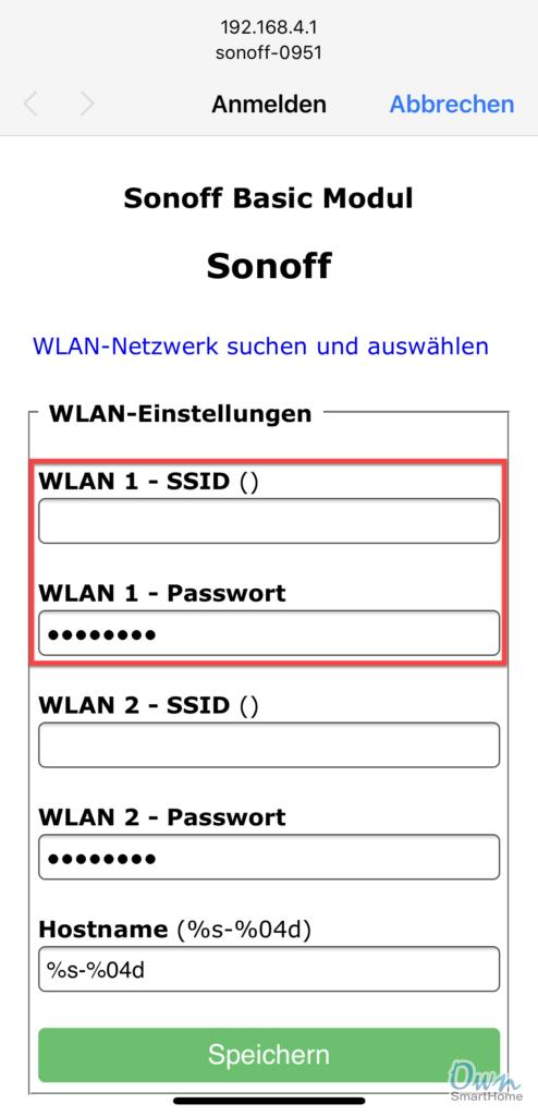 sonoff wlan konfiguration