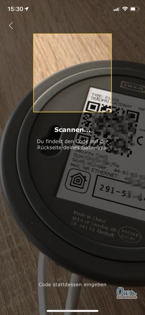ikea tradfri code scannen kamera