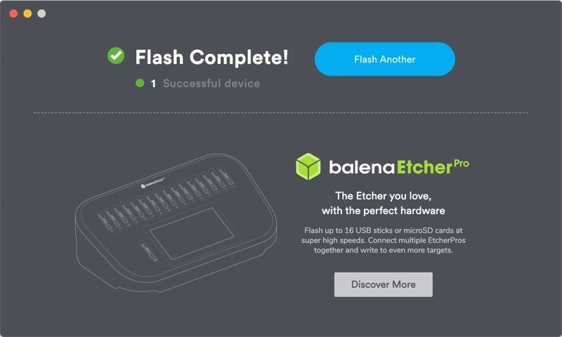 balenaetcher flash complete