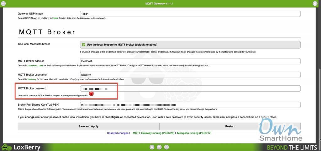 loxberry mqtt broker passwort